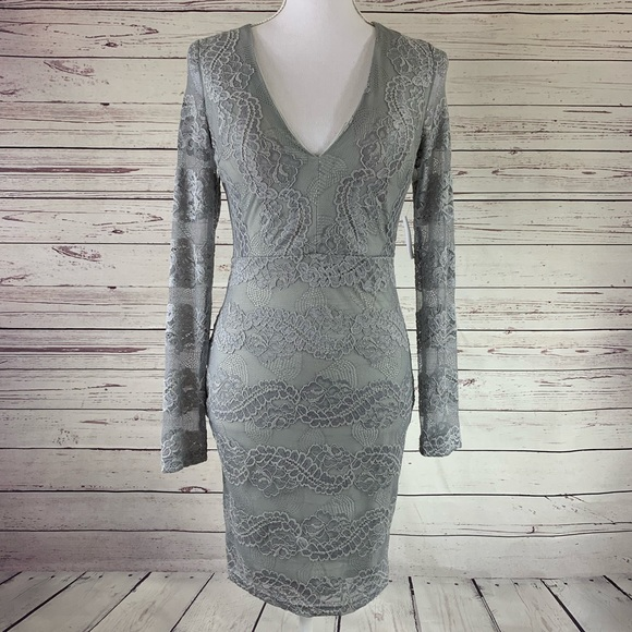 Charlotte Russe Grey Lace Bodycon Dress Nwt